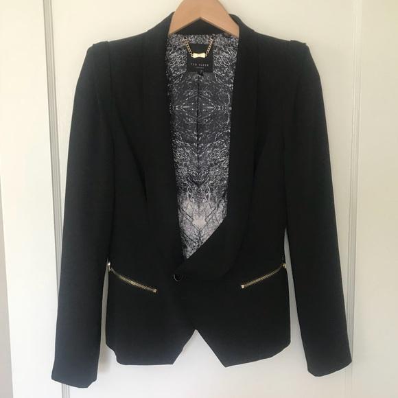 c04bd4e5dd03f5 Ted Baker London Black Shawl Collar Jacket. M 5af214959d20f0516c71ba17